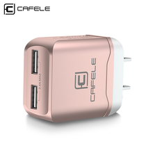 CAFELE US Charger Plug Travel USB 2.4A Dual output Universal Adapter Charger Smart Phone Charger with 2 in 1 Retractable cable(China)