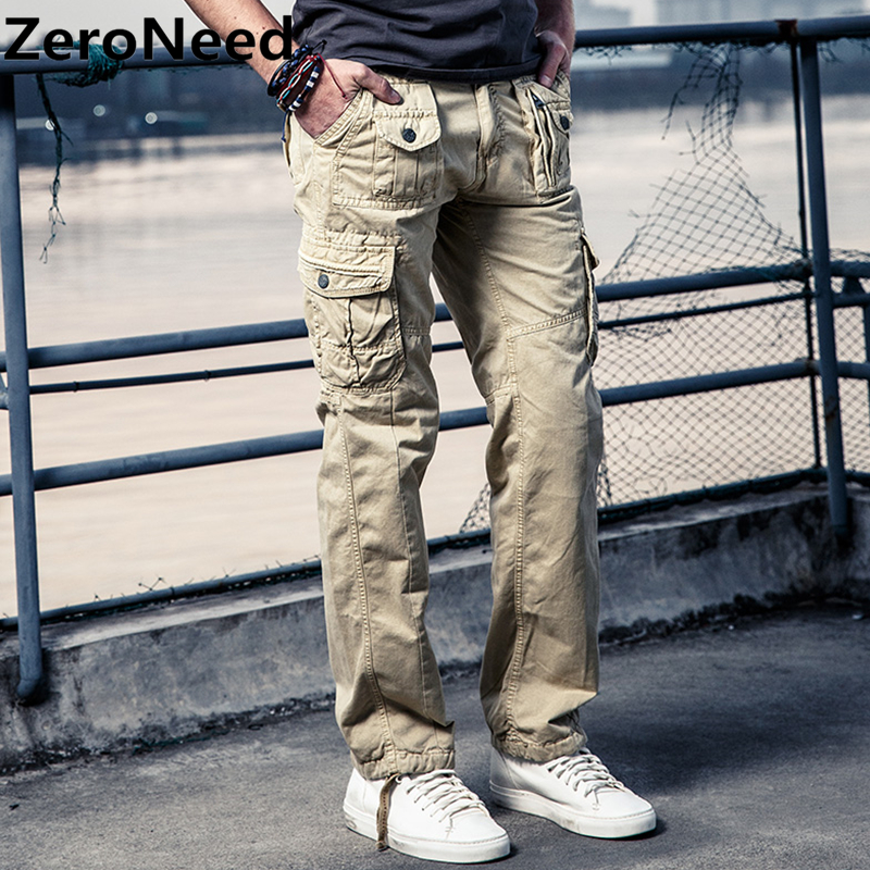 Men's Cargo Pants khaki Hombre Moto Hommes Fashion Parkour Sweatpants Mens Outdoors Pants Men Casual Cotton Long Trousers 169