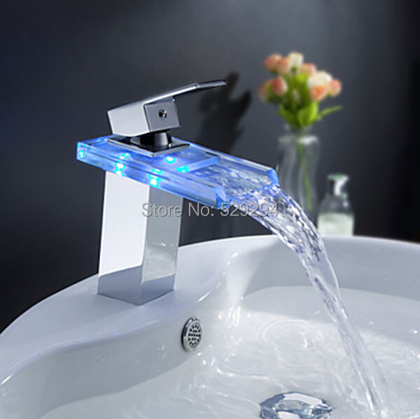 LED Light Glass Waterfall Basin Faucet for Bathroom.Torneira Led.Chrome Finished Colorful Deck Mounted  Sink Mixer Tap.<br>