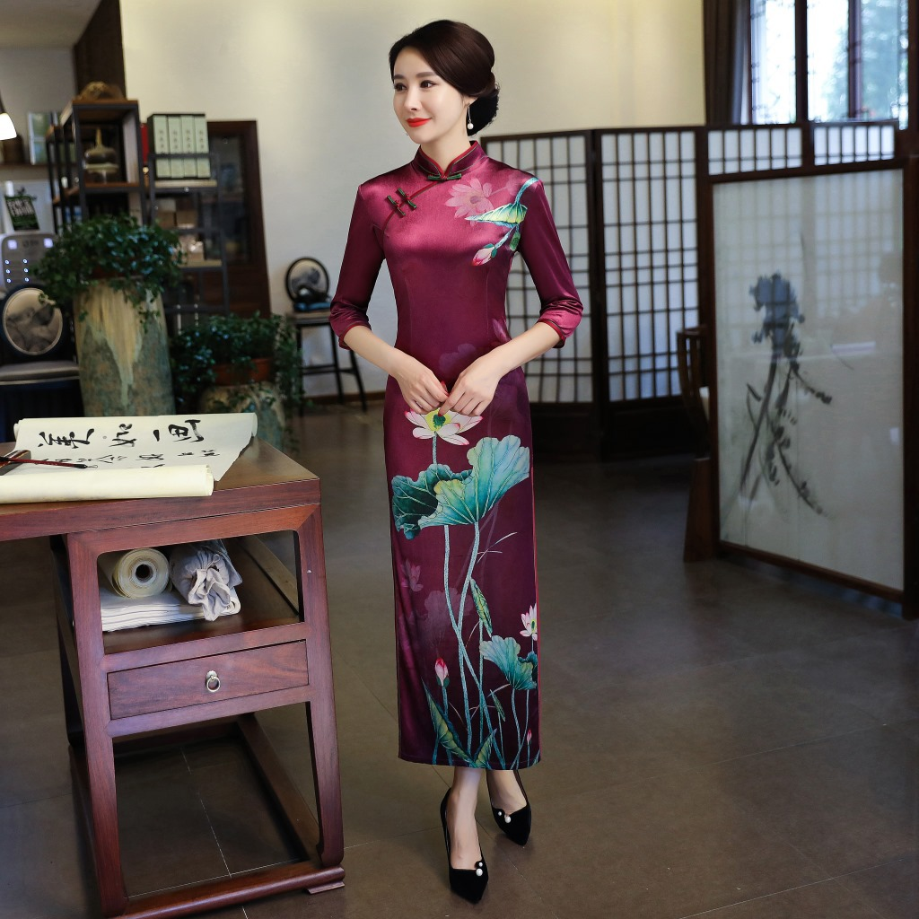 2Pcs New Style Elegant Chinese women/'s velvet Evening Dress Ball Cheongsam Qipao
