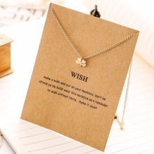 Christmas Gift! Clover Necklace Health and Wealth Gold Color Pendant Necklace Fashion Statement For Women Jewelry(has card)
