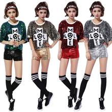 Nightclub DS Costume New Female Singer Performance Jazz Dance Clothes Hip Hop T-shirt Women Sequins Short Coat Clubwear Tee
