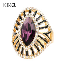 Fashion Purple Crystal Glass Engagement Ring Black Enamel CZ Zircon Gold Color Rings For Women Vintage Jewelry Wholesale(China)