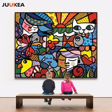 Children cartoon illustration mom and dad, cat and fish canvas print painting poster, wall pictures for kids room, home decor(China)