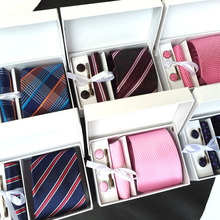 2017 mens fashion tie set polyester silk neckties dot stripe black ties for men tie handkerchief cufflinks gift box packing K01(China)