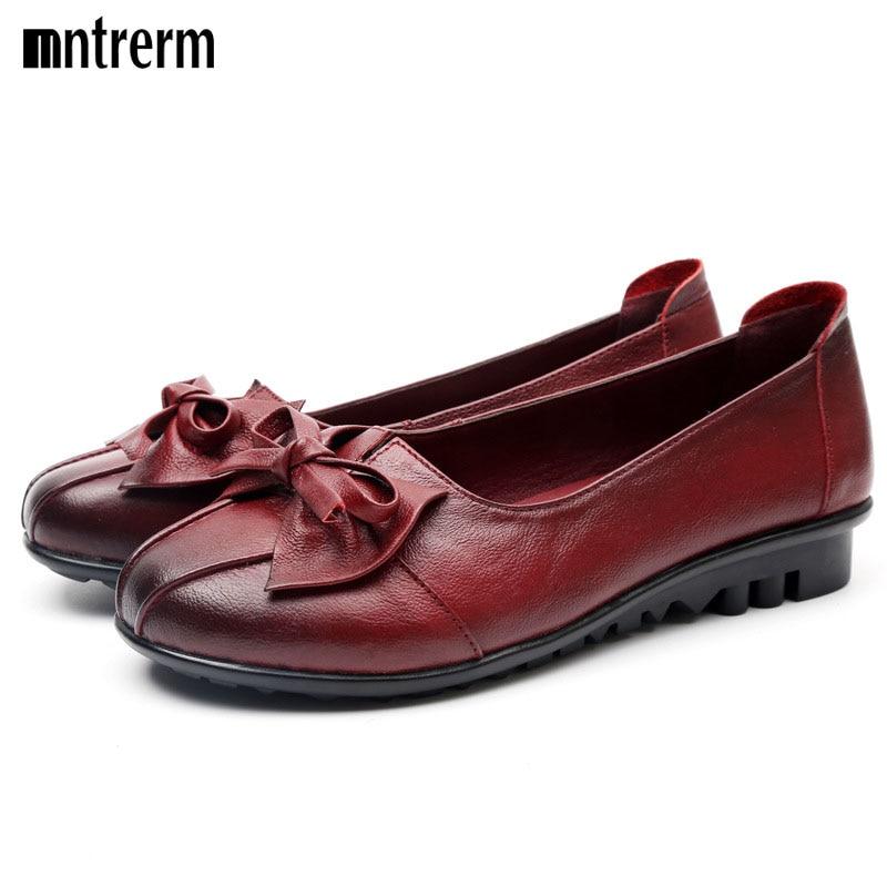 New Arrive Flats Women Shoes Four Seasons 2016 Shoes Women Flat Heel Rubber Muscle Outsole Knot Flat Women Genuine Leather Shoes<br><br>Aliexpress