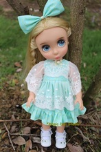 "[DY072]Free Shipping 16"" Disyne Doll Outfits #Green with Mesh Dress Set for 16 inch girl doll clothes for retail"