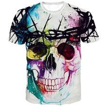 High quality 2016 Newest Fashion Harajuku Men/Women T-shirt 3d Print The skull ip Hop Brand T Shirt Summer Tops Tees(China)