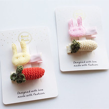 2017 Korean Style Knitting Wool 10sets/lot Bestseller Rabbit Head Hair Clip Small Size Beige Cartoon Carrot Fruit Pink Hairpins(China)