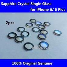 2pcs/Lot Original Camera Lens for iPhone 6/ for iPhone 6 Plus;Sapphire Crystal Single Glass Without Frame+3M Sticker(China)