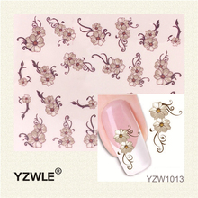 YZWLE 1 Sheet Fashion 3D Design Daisy Flower Watermark Nail Decals, DIY Water Transfer Nail Stickers Manicure Tools