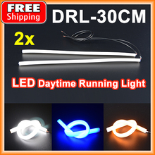 1 Set(2 Pieces) 30CM LED Strips DRL Daytime Running Light White/Yellow/Blue Flexible Tube Style Headlight Strip Angel Eyes
