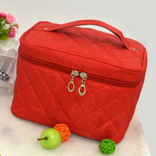 New Zipper Cosmetic Storage Make up Bag Handle Train Case Purse-S red(China)