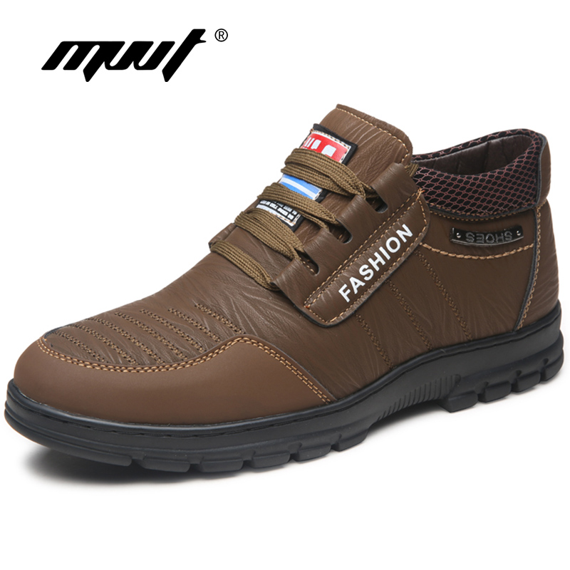 2017 Winter Split Leather Casual Shoes Men Loafers Slip-On Men Shoes Flats Comfortable Men Winter Shoes Snow Moccasins<br>