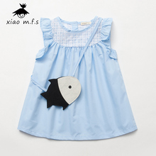 Girl Child Dress Of Anger Children's Party Dress With A Little Fish Crossbody Bag Toddler Clothing For 1-5 Years Old MFS-4213