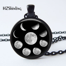 2017 New Arrival Wiccan Pendant Necklace Lunar Cycle Moon Phases Moon Nebula Pagan Necklace Glass cabochon jewelry HZ1(China)