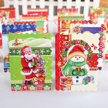 16 pcs/set Flash powder 16 different styles of Santa Claus Mini greeting cards message card Christmas holiday blessing card