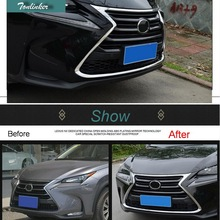 Tonlinker 1/3/7 PCS Car Styling stainless steel Front grille cover Light Cover Case Stickers for Lexus NX200 200t 300h 2016