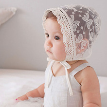 Princess Lace Baby Bonnet Enfant Lace Up Baby Girl Summer Hat Fotografia White Photography Props for 6-15 Months