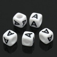 "500PCs White Acyrlic Craft Letter Alphabet Beads Letter A Cube Beads For Jewelry Making DIY Bracelets &Necklace 6x6mm(1/4""x1/4"")"