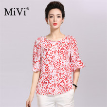 MiVi 100% Silk Elegant Women Shirts Round Collar Short Sleeve Blouse Leaves Printed Blusas High Quality Summer Tops Blouses(China)