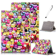 "Cute Lovely Die Emoji Smile Face Universal 7 Inch Tablet Case Buckle Flip Stand Cover Case For Android mini iPad Asus 7"" tablets"