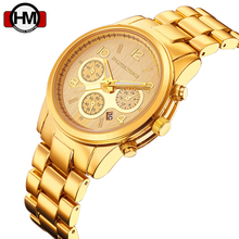 HM Couple Watch Women Men Quartz Watches Top Famous Brand Fashion Luxury Gold Wristwatch Stainless Steel Clock Montre Femme(China)