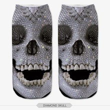 Punk Style Women Skull Socks 3D Full Printing Cotton Material Low Cut Ankle Socken  Mujer Casual Hosiery Printed Sock