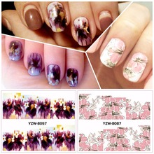 ZKO 2 Patterns/Sheet purple&pink flower Nail Art Water Decals Transfer Sticker YZW8057&8087