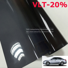 0.5*3m VLT-20% Car Window Film Foils Solar Protection Car Sticker for Auto Window Side Window Solar Protection By free shipping(China)