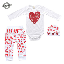 Kids Tales Newborn Infant Clothing Baby Girl Love Heart Long Sleeve Romper+Pants+Hat 3pcs Baby Outfits Set Clothes Newborn Gift