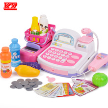 Children Cash Register Supermarket Electronic Toys with Food Basket Scales Learning Education Pretend Play Set for Kids D50