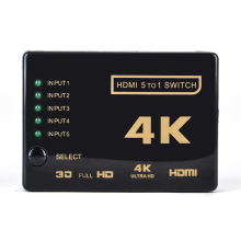 1Set Mini HDMI Switcher 3D 1080p 5 Port 4K HDMI Switch Switcher Selector Splitter With Hub IR Remote FOr HDTV DVD