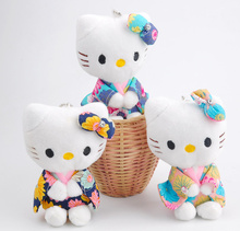 10PCS New Kawaii 10CM Sitting Hello Kitty Pendant Plush TOY DOLL ; Gift Wedding Bouquet stuffed Cat TOY(China)