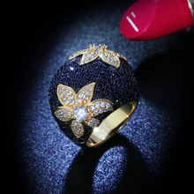 Nice Looking Flower Rings For Women Pave Setting AAA  Black & White Cubic Zirconia Engagement Fashion Jewelry  Gift Gold-color