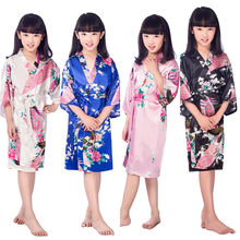 Lovely New Satin Pajama Kid   Children Sleepwear Wedding Flower girls Gown  High Quality Kimono Robes 825215320