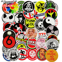 New 50 Pcs Fixed Round Sticker For Skateboard Suitcase Laptop Home Decor Car Styling Vinyl Decals Doodle Cool DIY Stickers(China)