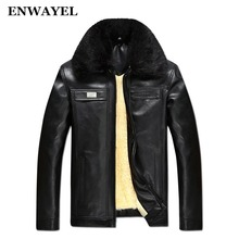 ENWAYEL Autumn Winter Faux Fur Collar PU Leather Jacket Men Thick Warm Velvet Mens Jackets Coat Vintage Male Casual Motorcycle(China)
