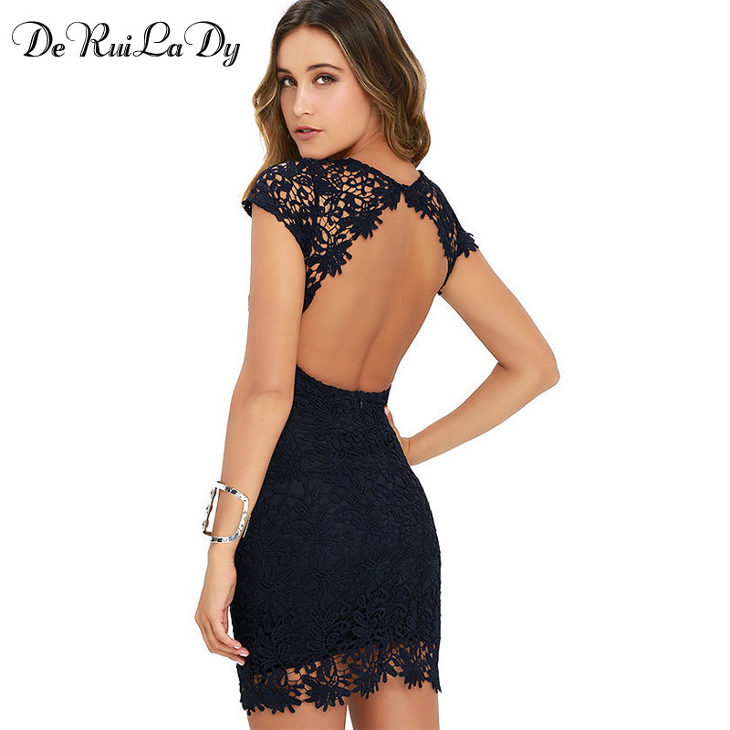DeRuiLaDy Women Sexy Lace Mini Dress Elegant Party Night Club Halter Neck dresses Summer Sleeveless Sheath Bodycon Dress vestido