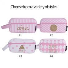 Cute Pink Canvas Pencil Case Large Capacity Pen Storage Box Stationery Pouch Makeup Organizer Cosmetic Bag