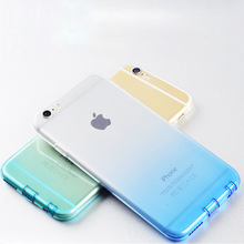 "For Apple iPhone 6 6s 4.7"" Phone Case Transparent Gradient Color Soft Silicone Capa Fundas Shell Protector with Dust plug"