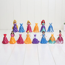 14pcs/set Princess Snow White Cinderella Mermaid Anime PVC Figure Set With Magic Clip Dress Baby Toy Toys For Girls 8~9cm