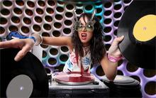 women DJ music glasses turntables vinyl 4 Sizes Silk Fabric Canvas Poster Print(China)