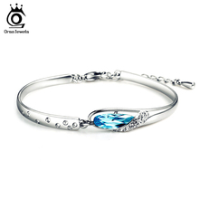 ORSA JEWELS Fashion Bracelet Bangle on Silver Color AAA Austrian Crystal Bracelet for Women OB10(China)