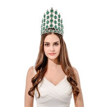 FeiLuanCustom 7.8inch fantastic tall pageant green rhinestone tiara crown peacock masquerade hairband decoration party crown