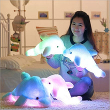 Super Cool!Colorful LED Glowing Animal Dolphin Stuffed Doll Plush Toy Can Connect Phone And PC To Play Music Kids Gifts(China)