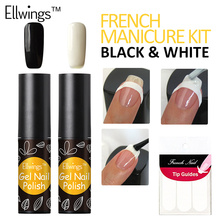 Ellwings 2pcs Black White French Manicure Set Gel Nail Polish Soak Off Long Lasting UV Nail Gel Varnish French sticker(China)