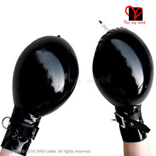 Sexy Inflatable Latex Mitts zipper belts Rubber Short Gloves latex Mitten Gauntlet catsuit Rubber mitts plus size
