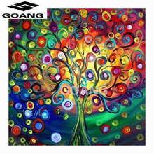 GOANG Diy Diamond Painting Rhinestone Pasted Square Drill color tree Embroidery home decor cross stitch - Factory Store store