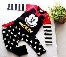 2pcs Children Set !!Cute Kids Baby Boys Girls Mickey Mouse Long Sleeve T-shirt Tops +Black Long Pants